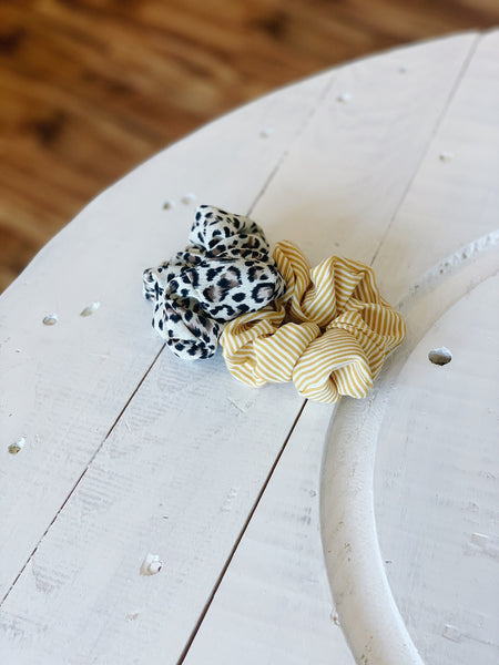 The White Leopard Duo Scrunchies