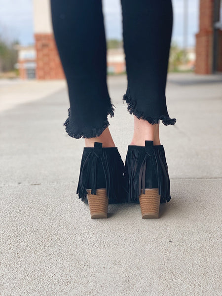The Carrie Fringe Bootie in Black