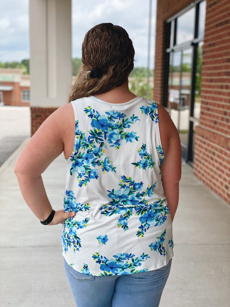 The Mabel Floral Tank Top in Ivory/Blue