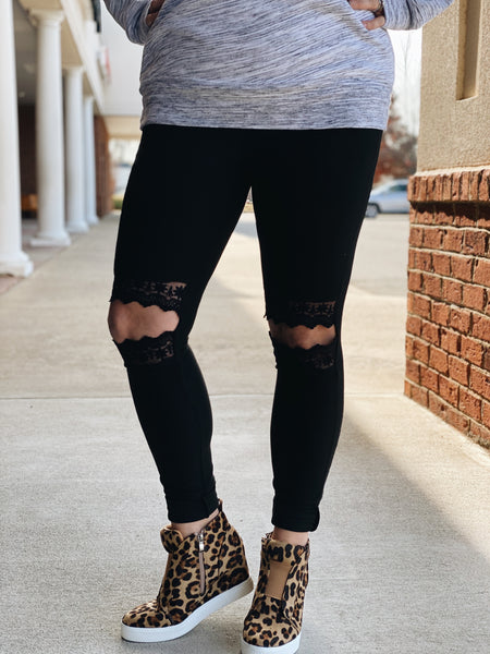 Love in Lace Black Leggings