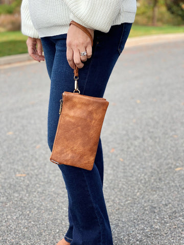 The Riley Crossbody/Wristlet in Brown