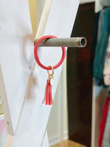 Tassel Key Ring Bracelet in Hot Pink