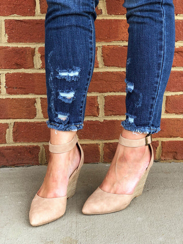 Faux Leather Wedge In Taupe