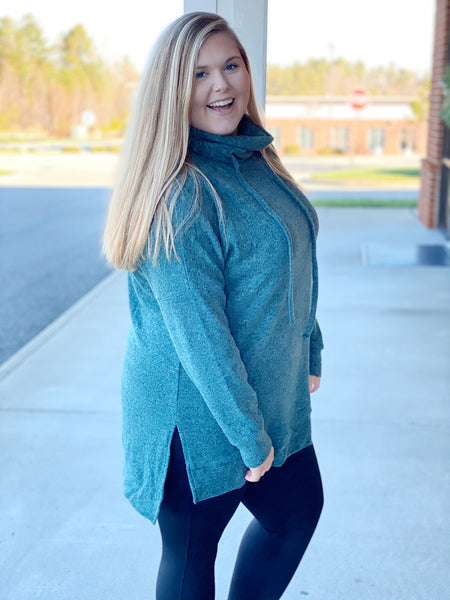 The Courtney Tunic Sweater in Hunter Green