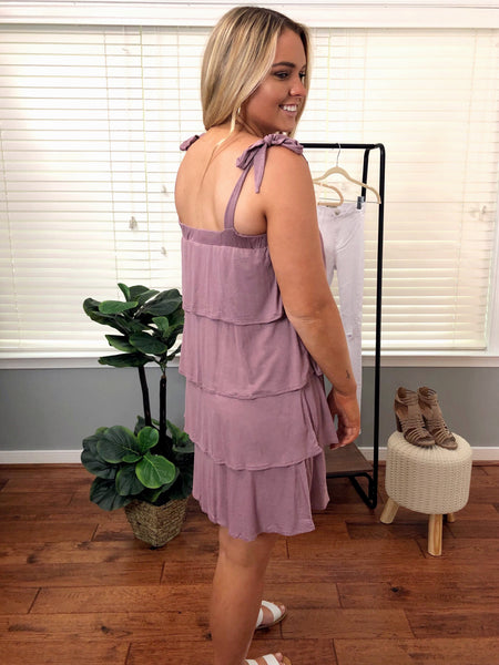 Tiered Jersey Dress Berry