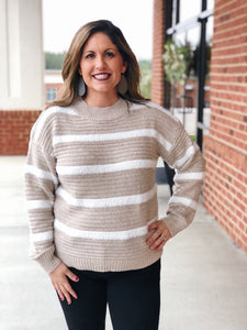 Dream By Daylight Stripe Sweater in Taupe