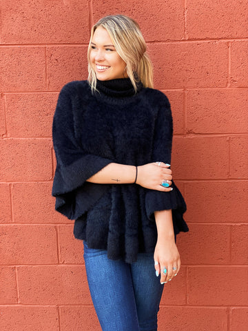 The Rayna Dolman Sweater in Black