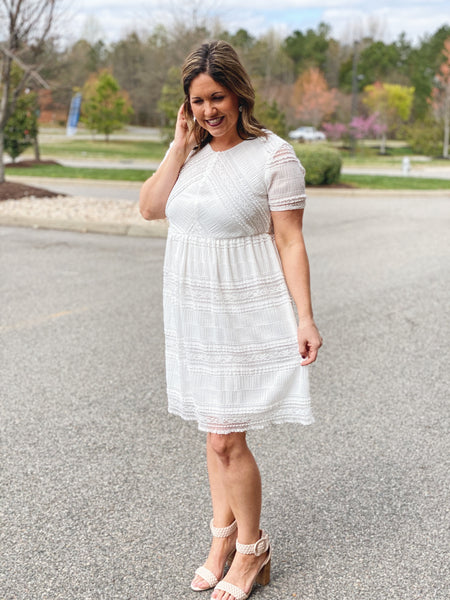 The Wanda Frill Lace Midi Dress in White