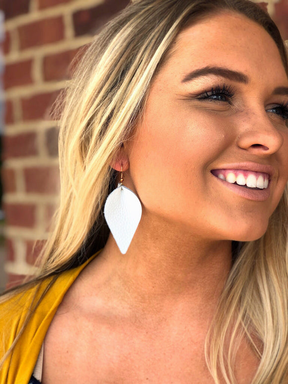 Pinched Leather Petal Earrings White