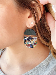 Deco Drop Earrings in Dark/Multi