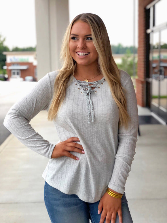 Bonfire Nights Knit Top In Grey