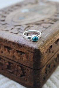 Turquoise Stacking Ring in Sterling Silver
