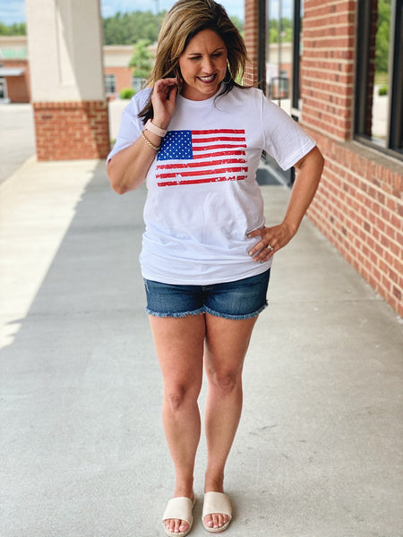 Distressed American Flag Top