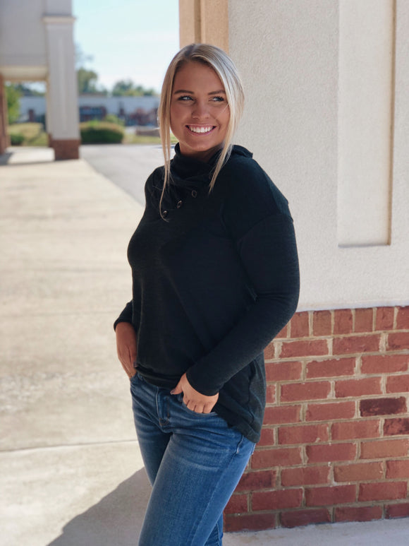 On The Go Black Sweater Tunic