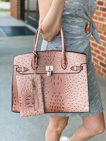 The Renee Faux Crocodile Handbag in Blush