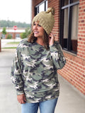 In Plain Sight Olive Camo Dolman Top
