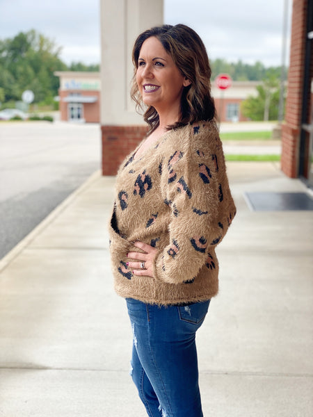 The Zora Fuzzy Sweater in Brown/Cheetah