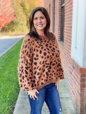 The Lily Feather Sweater in Brown/Leopard