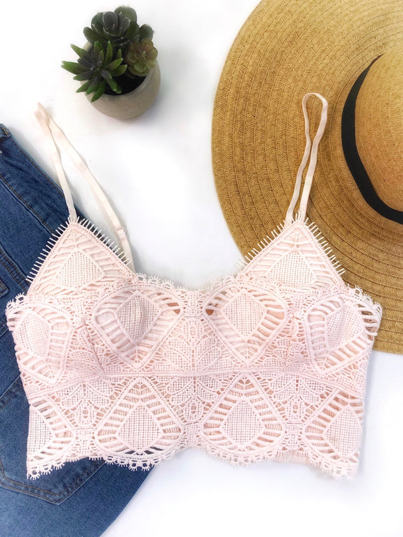Ladies Night Crochet Bralette Cream Pink