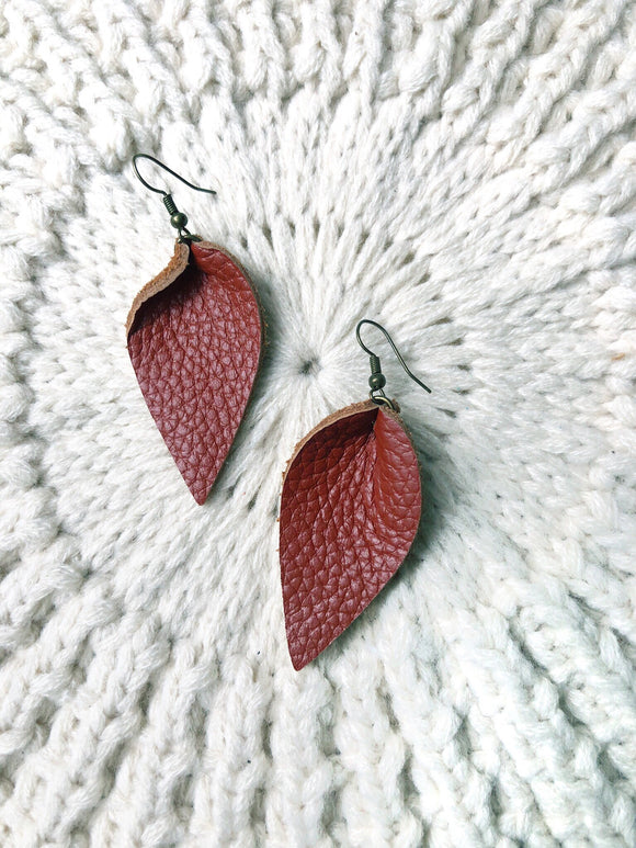 Pinched Leather Petal Earrings Saddle