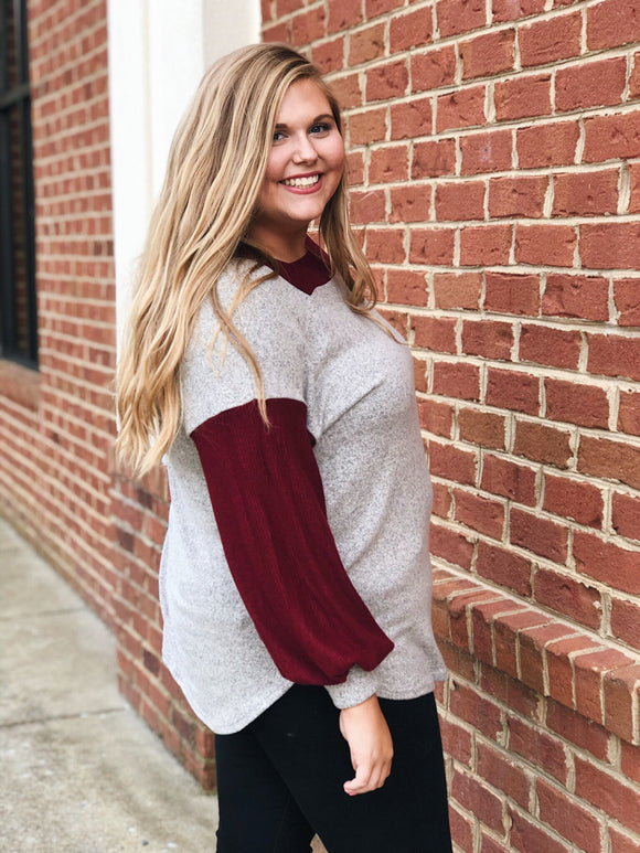 All For You Top in Oatmeal/Maroon