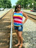 Rainbow Stripe Side Tie Tank Top