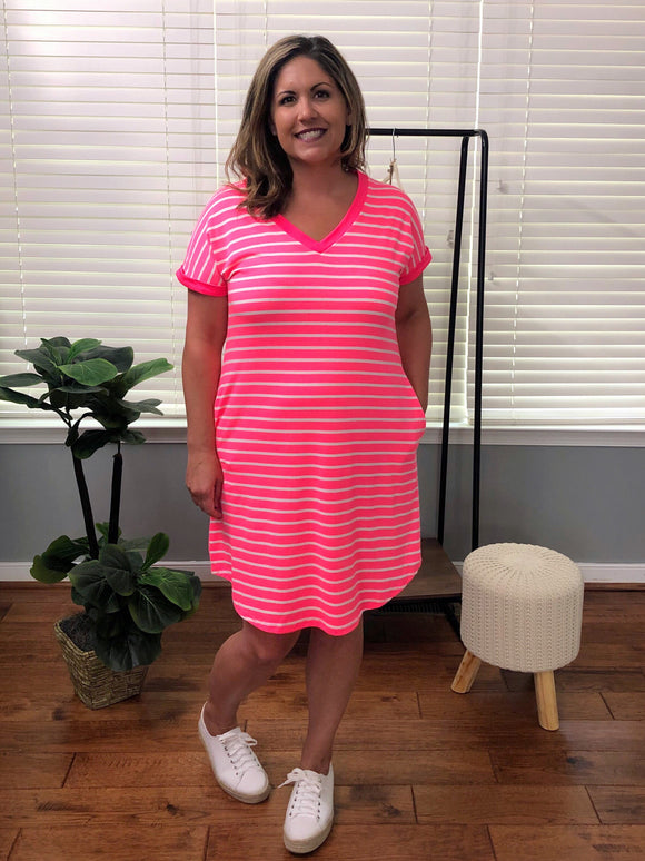Ready For Fun Midi Dress Neon Pink