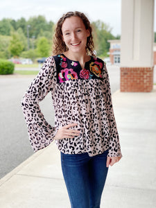 The Felicity Long Sleeve Top in Leopard