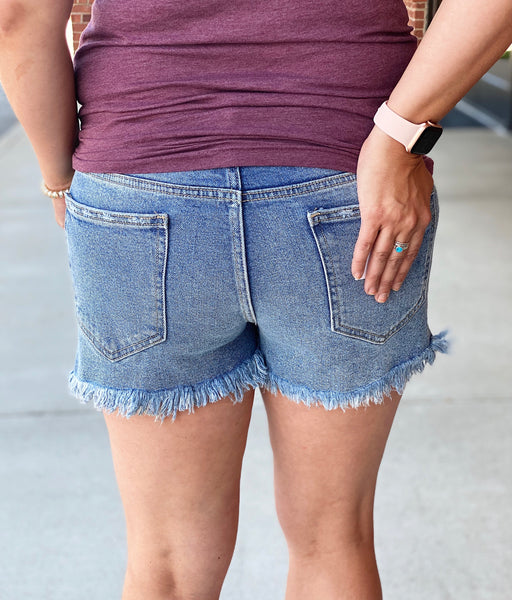 Medium Wash Frayed Shorts