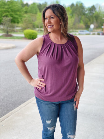 The Michelle Tank in Eggplant