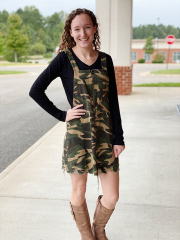 The Wendy Overall Dress in Olive/Camo