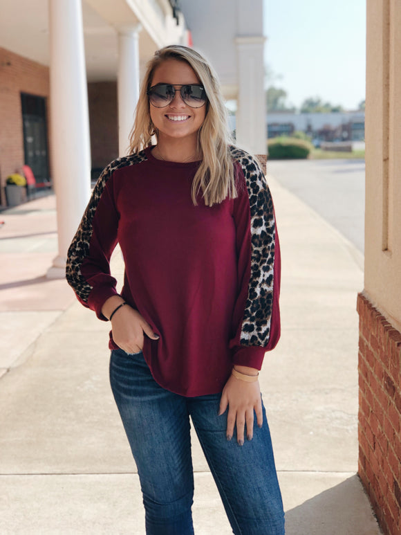 Call Of The Wild Wine Leopard Sweater