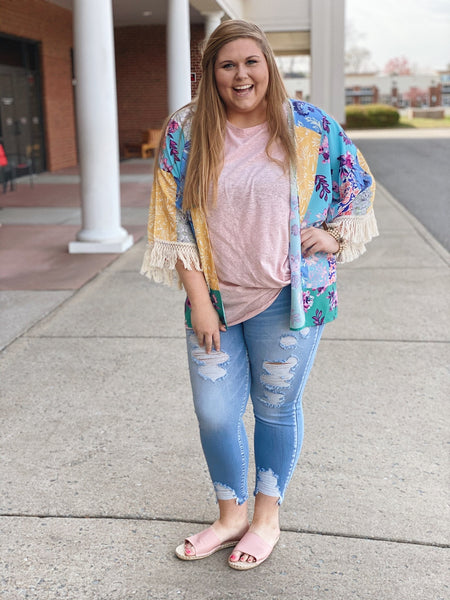 The Gabrielle Floral Kimono in Emerald/Multi