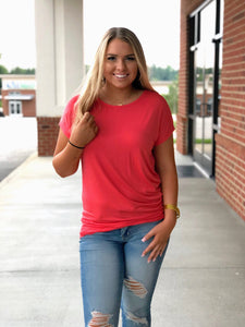 Side Shell Button Short Sleeve Top Coral