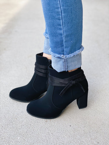 The Bow Faux Suede Bootie in Black