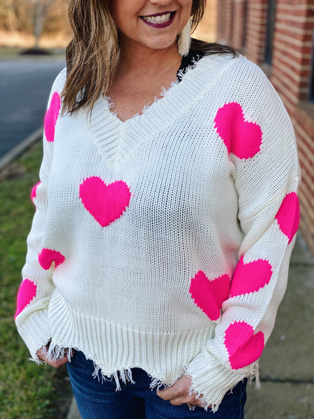 The Lola Hearts Sweater in White/Pink
