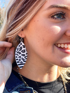 Leather Earrings in Black/White & Cheetah