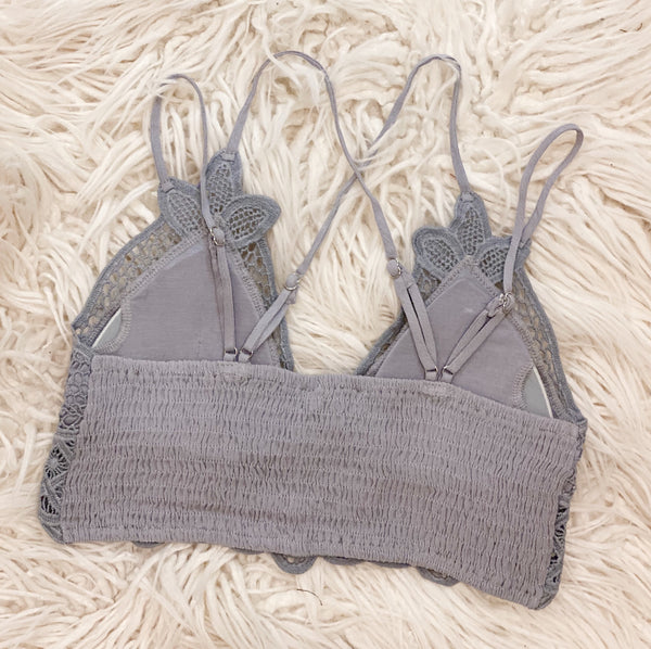 Crochet Lace Bralette in Grey