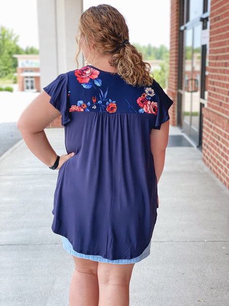 The Eve Floral Top in Navy