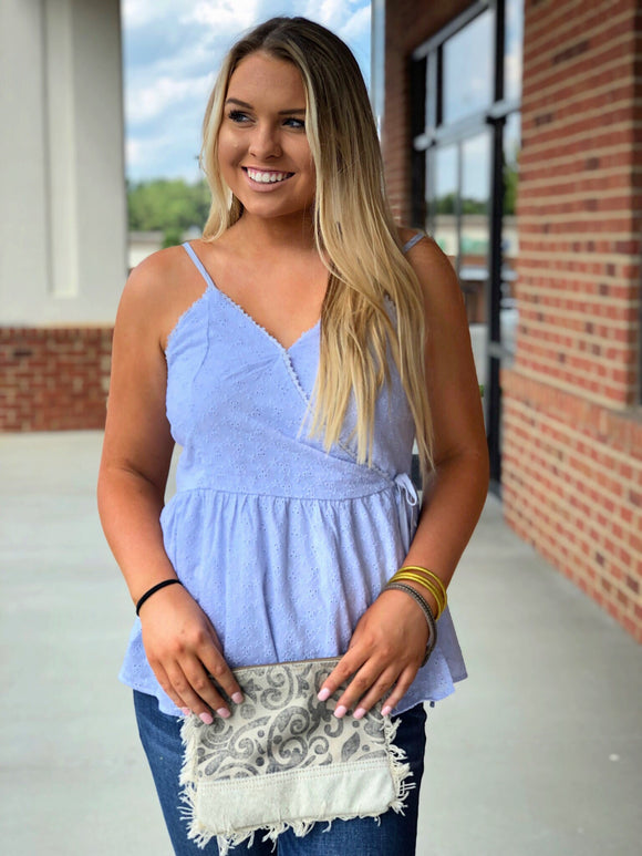 Baby Blue Eyelet Wrap Top