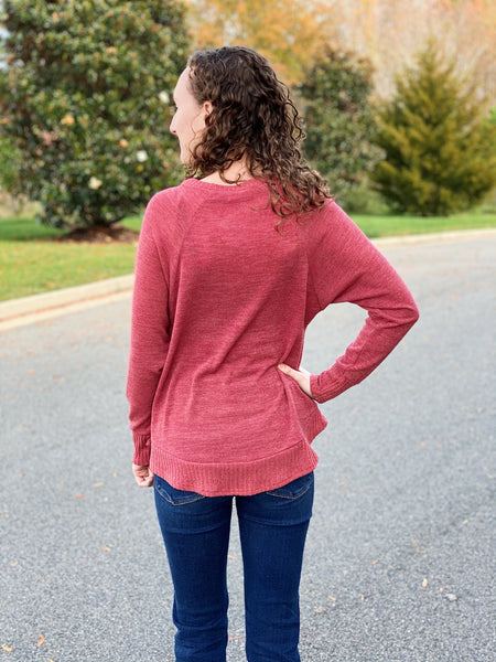 The Cindy Raglan Top in Brick