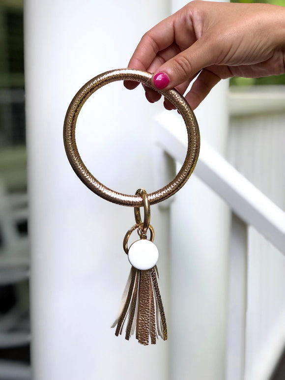 Tassel Key Ring Bracelet Rose Gold