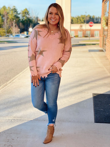 The Brooke Distressed Star Sweater in Blush