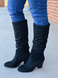 The Sasha Suede Tall Boot in Black