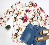 Floral Bell Sleeve Top Ivory