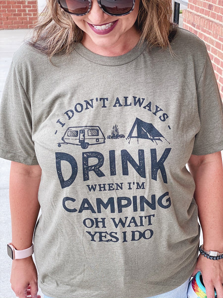 Always Drink When Camping Graphic Tee in Heather Olive