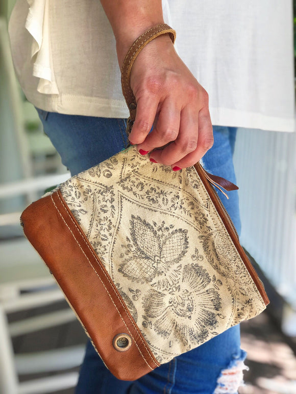 Taupe Floral Wristlet Pouch