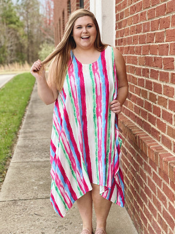 The Giselle Midi Dress in Fuchsia/Green
