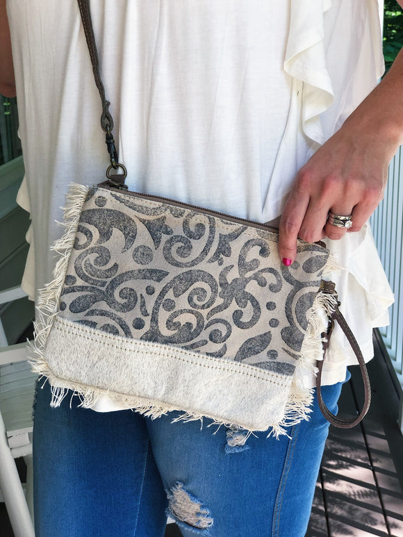 Floral Fringe Crossbody Cream