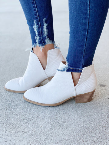 The Cherish Snake Booties in White